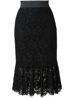 Black stretch cotton and silk blend lace skirt from Dolce & Gabbana featuring an elasticated waistband, a concealed rear zip fastening, a pleated hem and a knee length. Pleated Skirt, Dress Skirt, Lace Skirt, Waist Skirt, Midi Skirt, High Skirts, Layered Fashion, Dolce Gabbana, Stretch Lace
