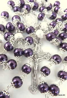 Purple Rosary Five Decade Catholic Rosary Sacred by AmyDavisArt