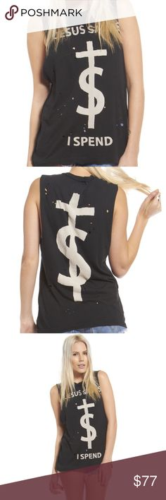 "Jesus Saves I Spend Muscle Tee UNIF distressed ""Jesus Saves I Spend"" muscle tee. Worn once. Excellent condition. Actual pictures to be posted later today. Stay tuned! ✌  ✖OFFERS WELCOME ✖ ✖LOWBALLS DECLINED✖ UNIF Tops Muscle Tees"