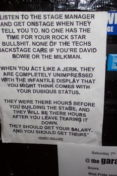 what should be posted outside every stage door