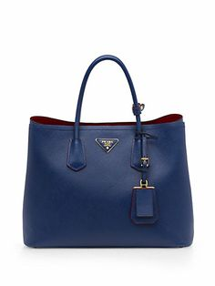 Prada - Saffiano Cuir Small Tote - Saks.com... Kinda need this in the smooth white leather with silver hardware!