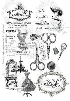 LAMINAS PARA 008 - Papeles - Materias Primas e Insumos - 496031 Papel Vintage, Vintage Paper, Printable Labels, Printable Art, Collages D'images, French Signs, Etiquette Vintage, Foto Transfer, Heat Transfer
