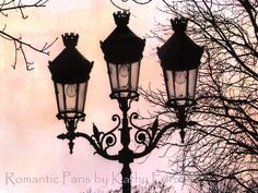 mooie lantaarnpaal uit parijs met rozige achtergrond en een vervelend bijschrift