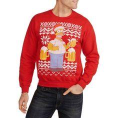 Simpsons Ugly Christmas Men's Crew Neck Sweatshirt, Size: Medium, Red