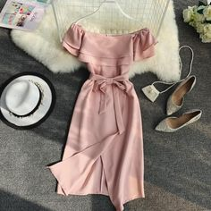 2019 Summer New Slash Neck Ruffle A-line Solid Dress Women Flare Sleeve Sashes Irregular Dresses Empire Mid Dress Source by dresses classy Frock Fashion, Fasion, Girl Fashion, Fashion Dresses, Retro Fashion, Vintage Fashion, Womens Fashion, Cute Casual Outfits, Pretty Outfits