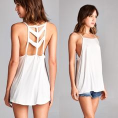 📣LAST CALL Chevron Tank - Off White How to BUY, you can now purchase this listing directly-please select your size from the size menu to purchase. Thank you😊  Product Description: 97% Rayon, 3% Spandex  Fit: Small (0-2) Medium (4-6) Large (8-10)  Terms: Final sale. Price Firm. 10% off bundles. No trades. No holds. We offer our lowest and best prices upfront. ❌PRICE FIRM❌ @closetchelle Tops
