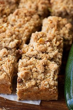 This spiced zucchini crumb cake is the perfect way to use up zucchini! It's topped with a thick, buttery crumb and chopped walnuts.