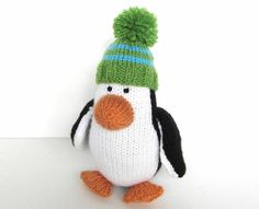 Hand Knit Penguin Stuffed Animal Childrens Toy by VeryCarey verycarey.etsy.com