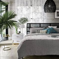 Seville Bed King Seville Bed Queen Odessa Nightstand The Hs Palm Leaves Sheer 108 Archer Pendant Antonio Acrylic Chair  moderneclectic a breezy bit of nature to the bedroom. tap link in bio to shop NEW seville bed — #moderneclectic