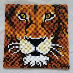 Lion hama perler beads by Perler Bead Designs, Perler Bead Templates, Hama Beads Design, Pearler Bead Patterns, Perler Patterns, Perler Beads, Perler Bead Mario, Fuse Beads, Pixel Art