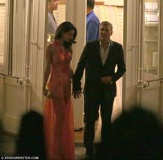 Hold my hand: George offered his hand to his wife as they prepared to head home after the evening out
