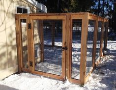 Custom chicken coop - cedar and welded wire with black vinyl coated chain roof