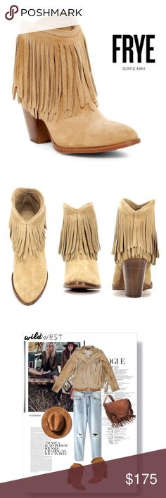"""Frye Ilana Fringe Bootie Frye Ilana Fringe Short Boot size 7, """"biscuit"""" color. True to size  approx 4"""" shaft height, 3"""" heel and 12.25"""" opening circumference. Pull on Boot with layered fringe detail. Brand new in box! Super cute and ready to dress up or down! Frye Shoes Ankle Boots & Booties"""