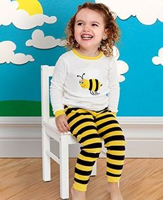 Leveret Little Girls Bumble Bee 2 Piece Pajama 100 Cotton 6M8 Years 1824 Months BlackWhite >>> More info could be found at the image url.