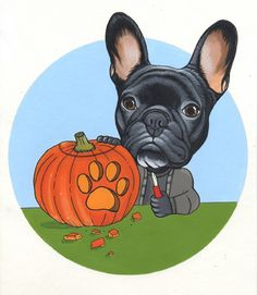 French Bulldog drawing by Jeroen Teunen, Frenchie sketchbook page Halloween, Pumpkin Carving