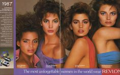 Kersti Bowser, Christy Turlington, Cindy Crawford, and Paulina Porizkova...I love how the look of the '80s model was wide-eyed shock.