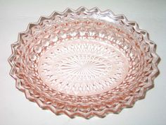 """Vintage Jeannette Glass Pink Depression Holiday Buttons and Bows Oval 9 1/2"""" Bowl. Starting at $6"""