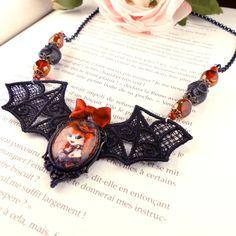 Collier dentelle Ventruesa // Vampire victorien - Dracula // Fait main #CloveredC #necklace #vampire #comics #blood #pinup #steampunk #dracula #spider #crown #cameo #handmade #handcrafted #etsy