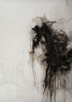"""Mary Czekalinski, """"La Dame Blanche"""", Drawing, Graphiite, ink ,and charcoal on paper, 2007"""