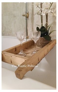 Rustic Bathtub Tray  Bathtub Tray  Reclaimed wood by RusticPelican