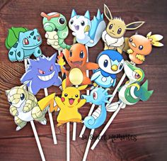 POKEMON Cupcake Toppers / Cake Toppers / Die Cuts / Birthday