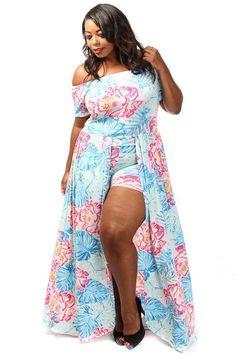 Plus Size Floral Stencil Romper With Overlay Maxi Dress - PinkClubwear - 1