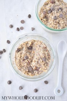 Cookie Dough Overnight Oats + a giveaway! A healthy breakfast that tastes like a warm oatmeal cookie!  Make 5 at a time for healthy recipes all week.  No cooking required!  Vegan and gluten free.