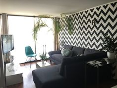 Chevron wallpaper in black and white Areca palm inside tree