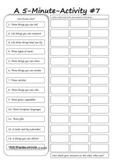 A ws you can use in many different ways: as a warmer, pairwork, competition, speaking activity etc. - ESL worksheets