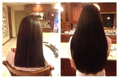 Microlink Hair Extensions for length and volume in Darkest Brown. Long Island Hair Extension Artist