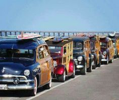 Classic Woodies Showcase the Best of the SouthernCalifornia Beach Surfing and Surfer LifestyleWhen it comes to images of woodies and what they represent. Vw Beach, Beach Cars, Beach Buggy, Station Wagon, E Skate, Automobile, Woody Wagon, Pin Up, Pt Cruiser