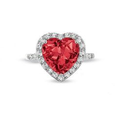 Lab-Created Heart Shaped Ruby Frame Ring in 10K White Gold with White Sapphire and Diamond Accents - Zales $249 -- wish it came in yellow gold