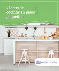 4 ideas de cocinas en pisos pequeños.   Conoce algunas ideas para conseguir amplitud en cocinas en pisos pequeños, algo que puede parecernos difícil. Sobre todo hay que tener un buen sentido de la organización y buen gusto. #cocinas #pisos #ideas #amplitud #sentido #organización