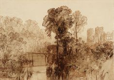 Joseph Mallord William Turner / Berry Pomeroy Castle (From Etchings and Engravings for the 'Liber Studiorum'), 1816 / Etching on paper / Tate UK Collection. William Turner, Landscape Paintings, Fine Art, Jmw, Etching Prints, Mallord, Marine Painting, English Artists, Landscape Drawings