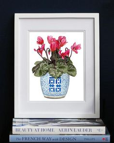 Print of cyclamens in double happiness jar An Art Print of my original watercolour painting by Michelle GraysonPrinted on 320gsm Canson fine art Canson paper or