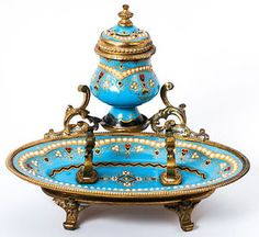 Antique Celeste Blue  made by Tahan Paris French Kiln Fired Enamel Pen/Quill  stand and Inkwell