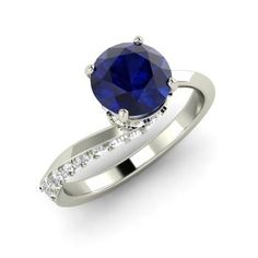 Round Sapphire  and Diamond  Sidestone Engagement Ring in 14k White Gold