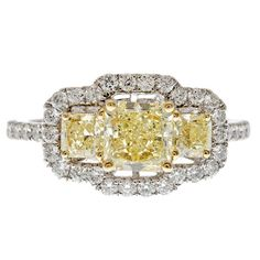 Natural Fancy Yellow 3-Stone Diamond & Pave Ring