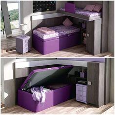 Cama con arcón. Es práctico para habitaciones con poco espacio, un sitio de almacenaje http://www.espaijuvenil.cat/ #cama #espacio #almacenaje #deco #muebles #habitaciones