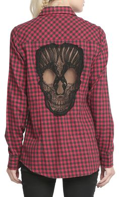 This long sleeve shirt features plaid print, patch breasted pocket, hollow out lace skull back and stand collar.Pick your favorite dress at OASAP. You won't be disappointed!