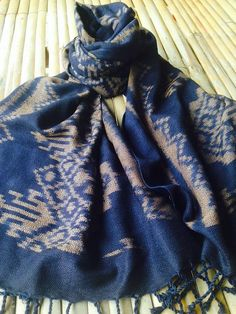 Natural Dye Indigo Blue Cotton Check Scarf from by Chabashop