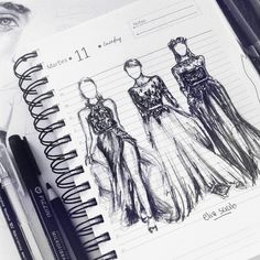 The sketch before the dress