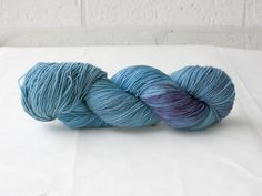 Hand Dyed 4ply (fingering weight) Merino - Pale Teal/Blue & Purple