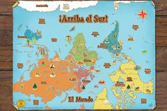 "Turn the world upside-down in your Spanish classroom! FL teachers aren't just teaching a new way of saying things. They're changing how their students see the world and this ""inverted"" map does just that! The first impression students have when they see the map is that it's wrong or weird but is it really? Have students rethink the world. It is hard to believe that most of us have been educated into one stereotype about maps but sometimes you have to turn everything on its head to see better"