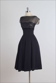 1950's Suzy Perette Black Silk Lace Dress