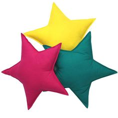 A set of stars pillows for a childrens room - 3 pieces. Pillows in various shapes are a great decoration for a childrens room, as well as nice cuddly pillows. Due to their numerous colors, sizes and textures, they will appeal to both infants and older children. The pillows fit perfectly Teepee Tent, Tents, Star Decorations, Kids Pillows, Backrest Pillow, Kid Beds, Star Shape, 3 Piece, Cotton Fabric
