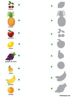 Jeu des ombres gratuit à imprimer, les fruits