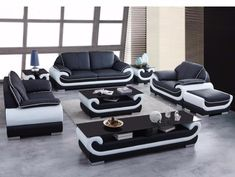 Modern Leather Sectional Sofa Group Side Table+Coffee Table+TV Cabinet – My Aashis Sofa Table Design, Modern Sofa Table, Living Room Sofa Design, Living Room Designs, Italian Leather Sofa, Modern Leather Sofa, Sofa Furniture, Furniture Design, Sofa Set Designs