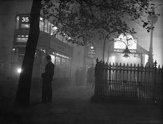 Old London Photo: A Tram Sails Through the Foggy London Night Outside Embankment Tube Station in 1938 Vintage London, Old London, London View, London Bus, South London, London History, British History, Asian History, Tudor History