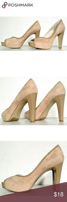 Nine West Womens Beige Suede Peep Toe Heels Size 8 1/2 Good Condition! Fast Shipping! Nine West Shoes Heels